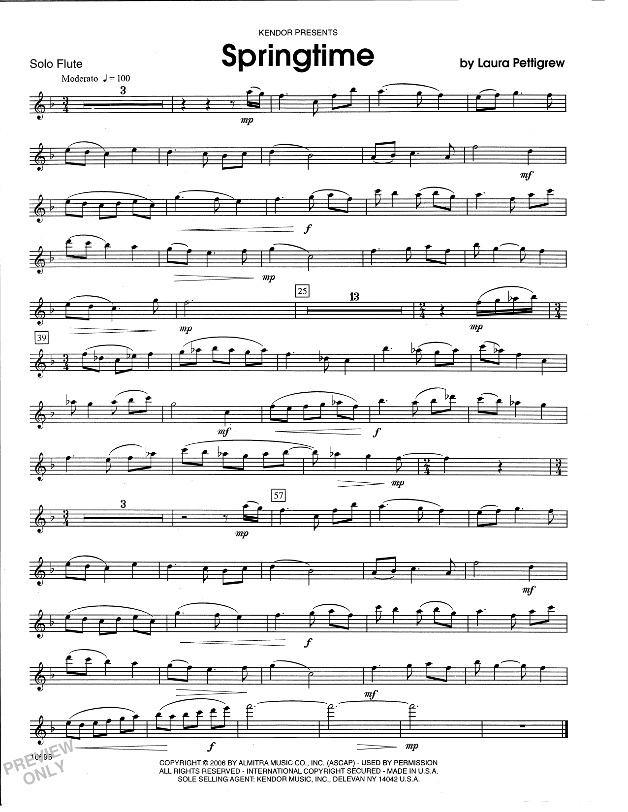 Laura Pettigrew Springtime - Flute sheet music notes and chords. Download Printable PDF.