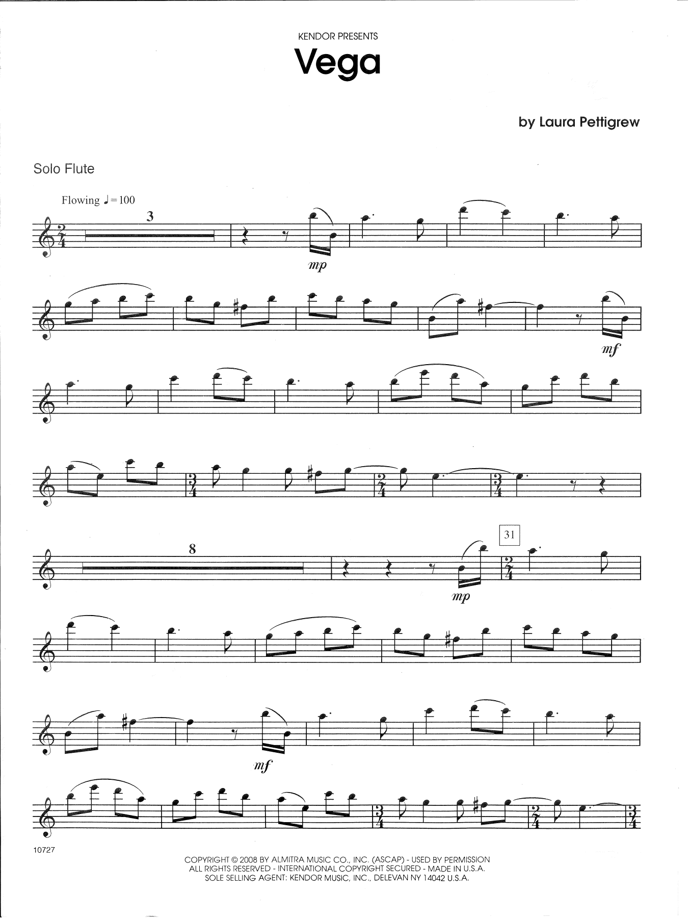 Laura Pettigrew Vega - Flute sheet music notes and chords. Download Printable PDF.