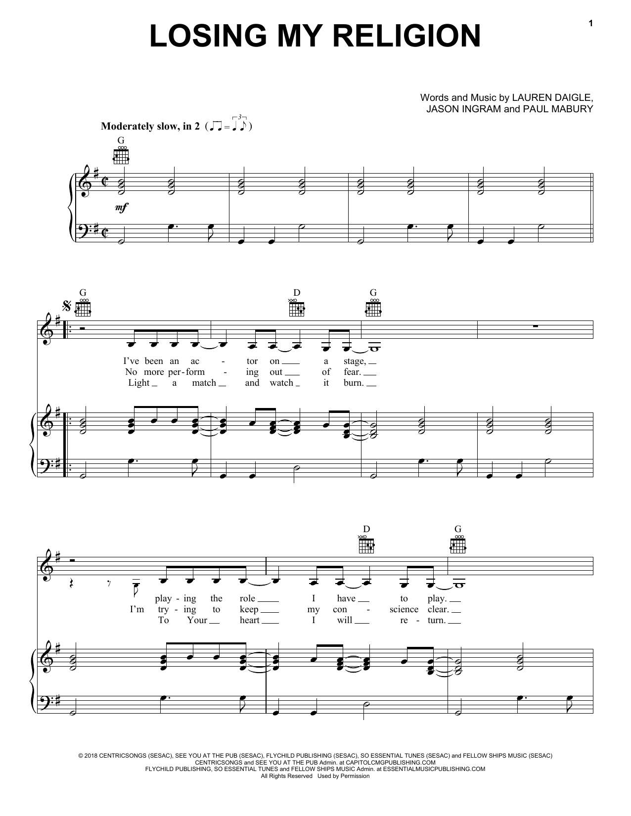 Lauren Daigle Losing My Religion sheet music notes and chords. Download Printable PDF.