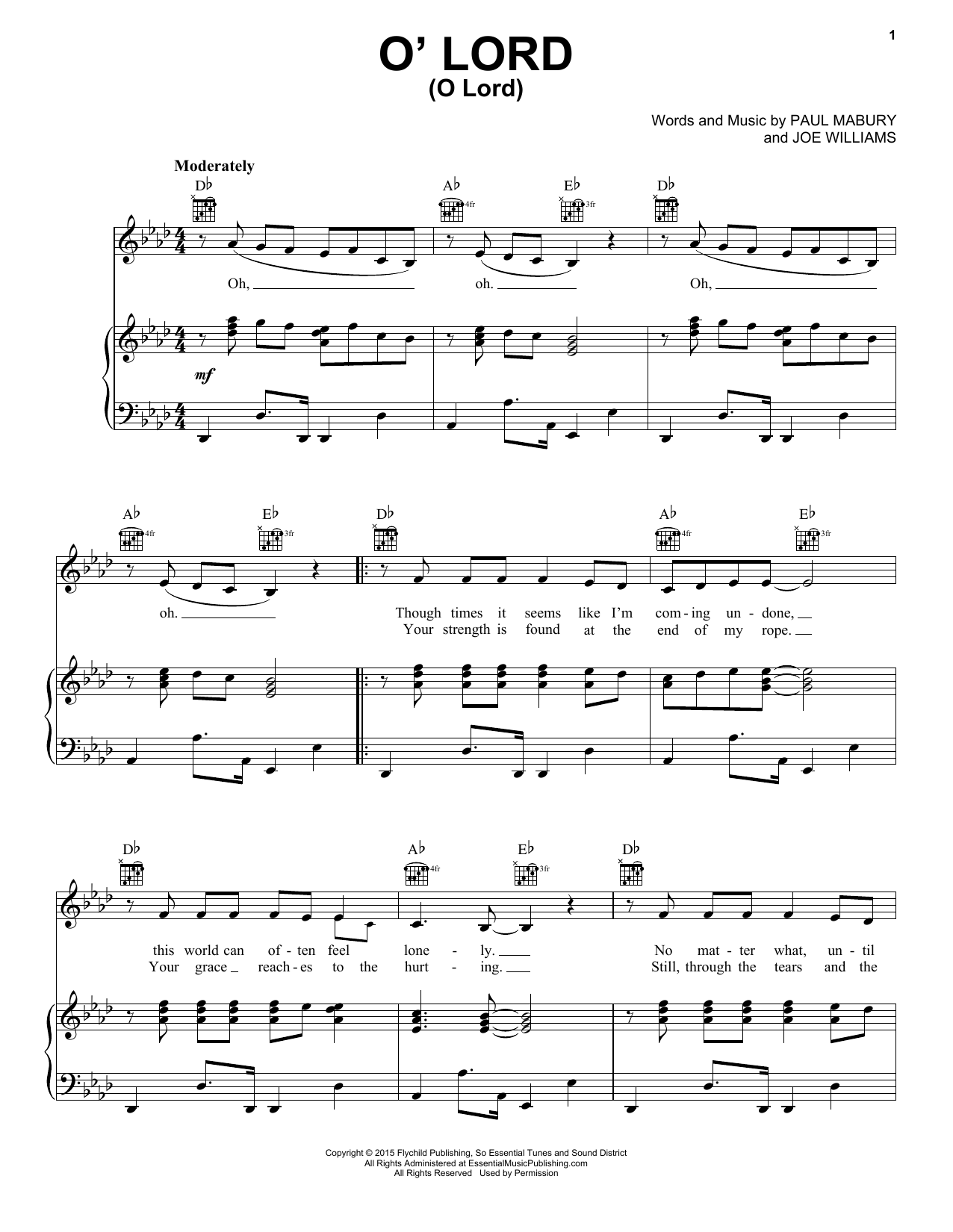 Lauren Daigle O' Lord sheet music notes and chords