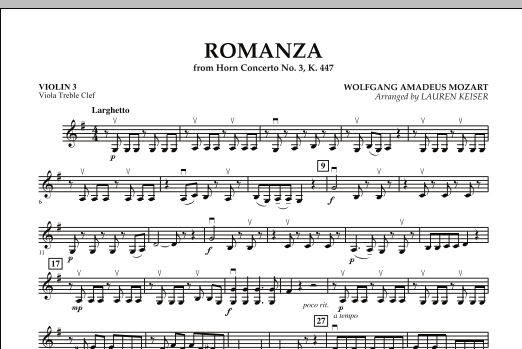 Lauren Keiser Romanza (from Horn Concerto No. 3, K. 447) - Violin 3 (Viola Treble Clef) sheet music notes and chords. Download Printable PDF.