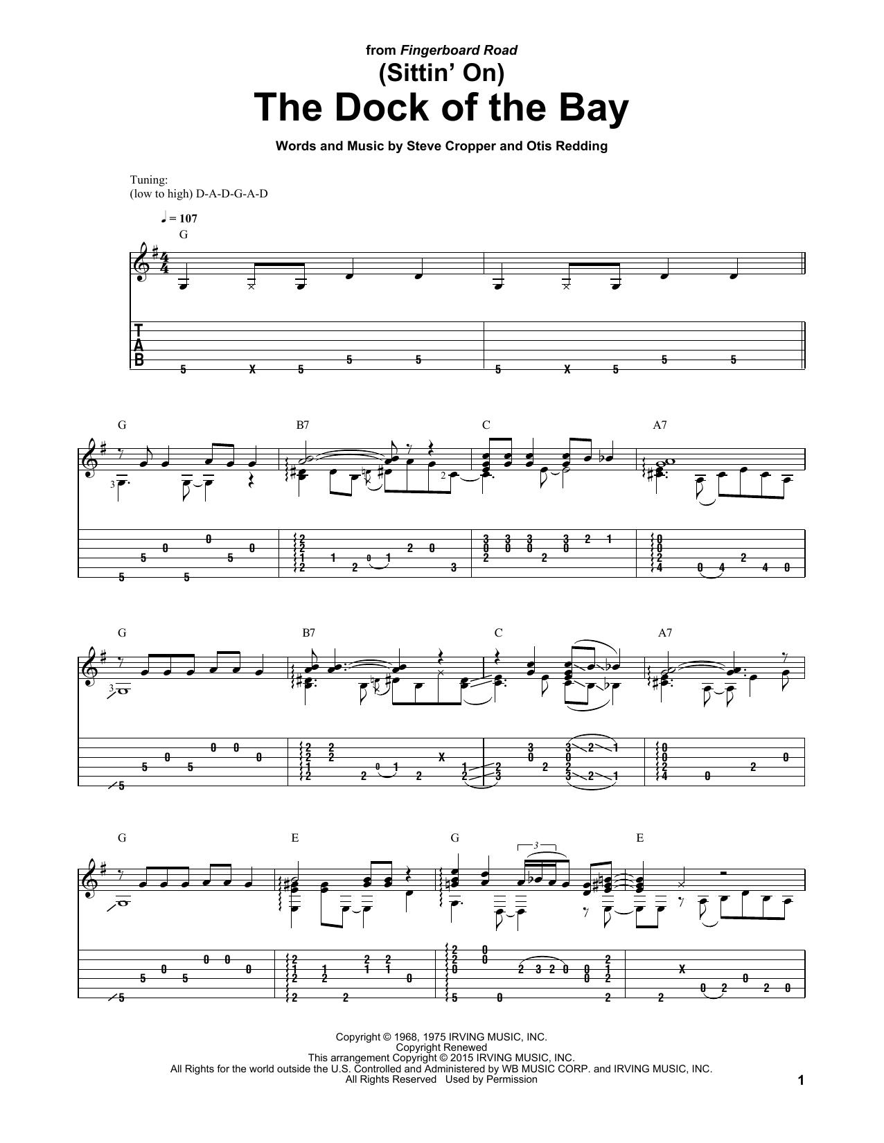 Otis Redding Sittin' On The Dock Of The Bay Sheet Music Notes, Chords    Download Printable Guitar Tab PDF Score   SKU 15