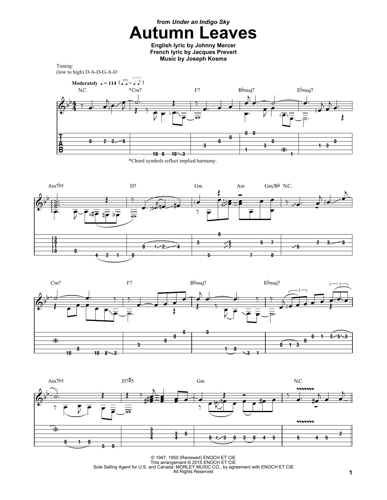 Laurence Juber Autumn Leaves sheet music notes and chords. Download Printable PDF.