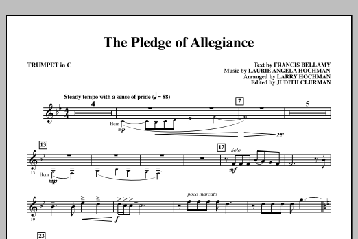 Laurie Angela Hochman The Pledge of Allegiance - C Trumpet sheet music notes and chords. Download Printable PDF.