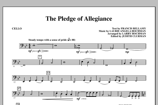 Laurie Angela Hochman The Pledge of Allegiance - Cello sheet music notes and chords. Download Printable PDF.