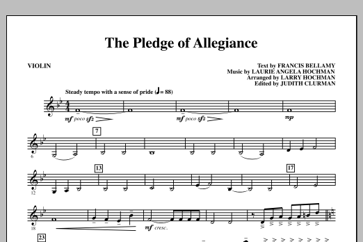Laurie Angela Hochman The Pledge of Allegiance - Violin sheet music notes and chords. Download Printable PDF.