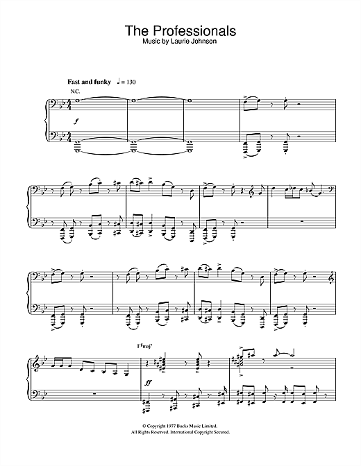 Laurie Johnson Theme from The Professionals sheet music notes and chords. Download Printable PDF.