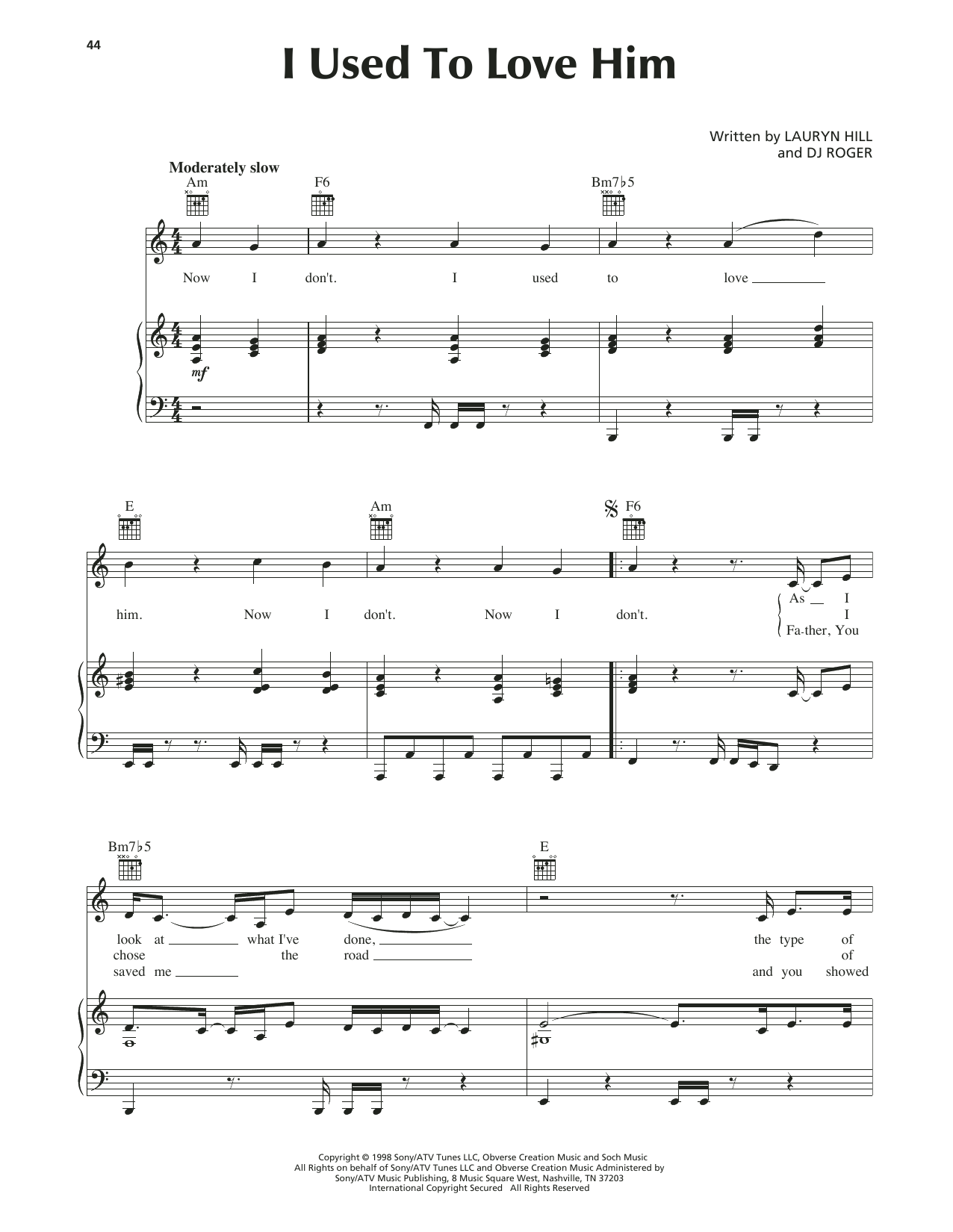 Lauryn Hill I Used To Love Him sheet music notes and chords