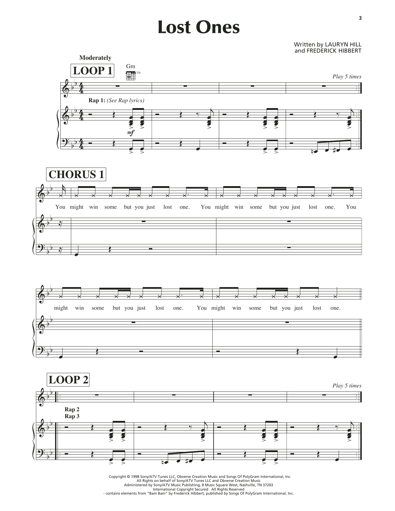Lauryn Hill Lost Ones sheet music notes and chords. Download Printable PDF.