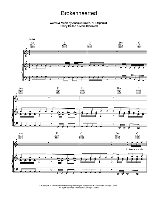 Lawson Brokenhearted (feat. B.o.B) sheet music notes and chords. Download Printable PDF.
