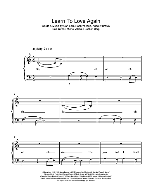 Lawson Learn To Love Again Sheet Music Notes Chords Download Printable 5 Finger Piano Sku 115869