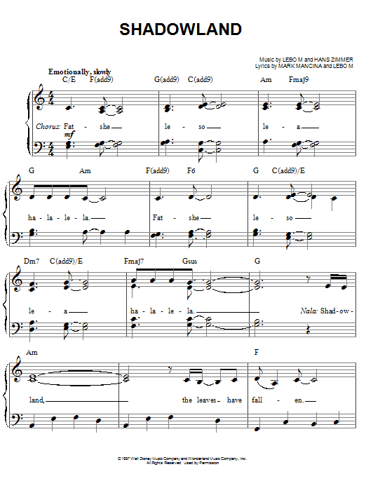 Lebo M., Hans Zimmer and Mark Mancina Shadowland (from The Lion King: Broadway Musical) sheet music notes and chords. Download Printable PDF.