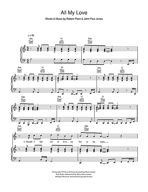 Led Zeppelin All My Love sheet music notes and chords. Download Printable PDF.
