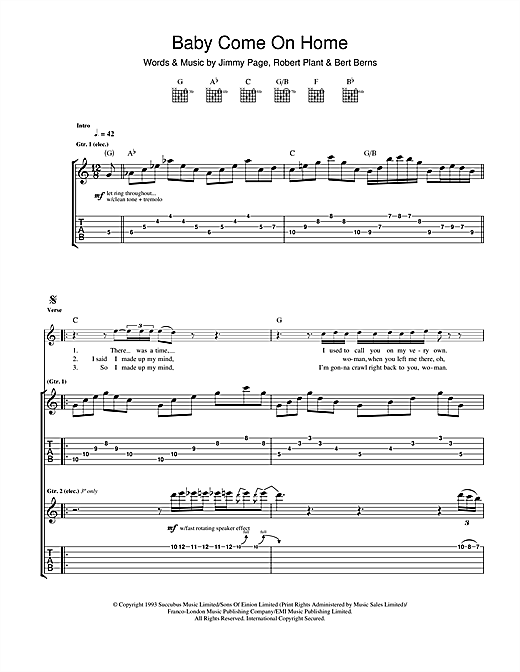 Led Zeppelin Baby Come On Home sheet music notes and chords. Download Printable PDF.