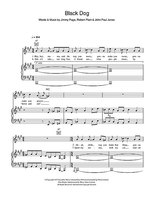 Led Zeppelin Black Dog sheet music notes and chords. Download Printable PDF.