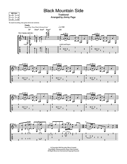 Led Zeppelin Black Mountain Side sheet music notes and chords. Download Printable PDF.