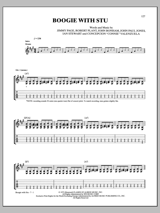 Led Zeppelin Boogie With Stu sheet music notes and chords. Download Printable PDF.