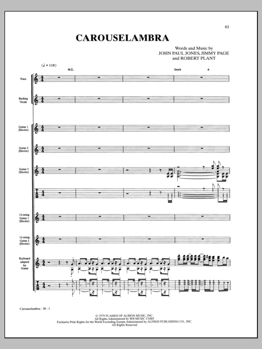 Led Zeppelin Carouselambra sheet music notes and chords. Download Printable PDF.