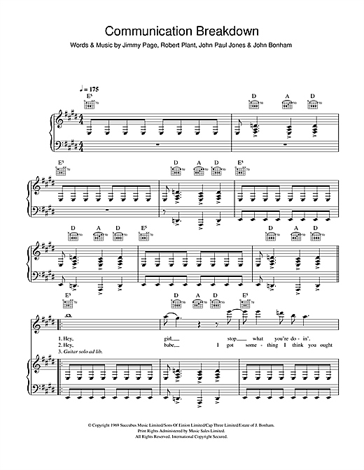 Led Zeppelin Communication Breakdown sheet music notes and chords. Download Printable PDF.