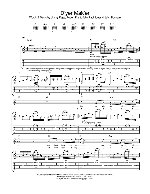 Led Zeppelin D'yer Mak'er sheet music notes and chords. Download Printable PDF.