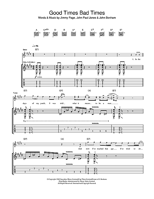 Led Zeppelin Good Times Bad Times sheet music notes and chords. Download Printable PDF.