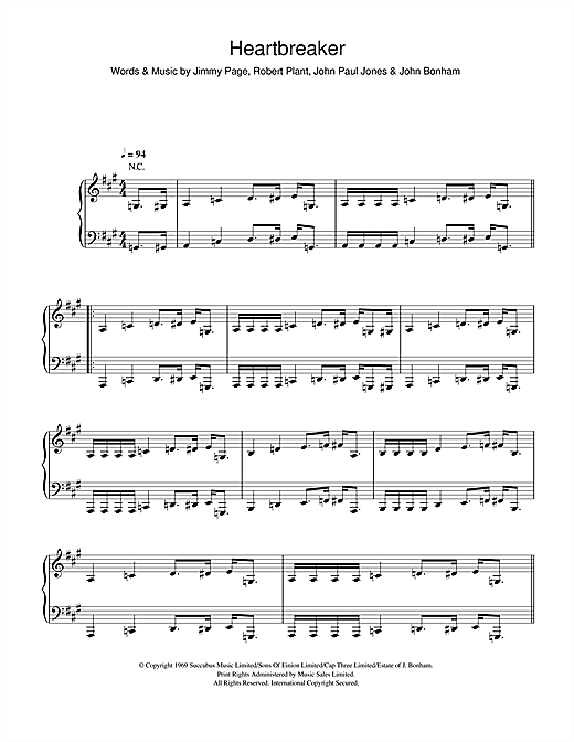 Led Zeppelin Heartbreaker sheet music notes and chords. Download Printable PDF.