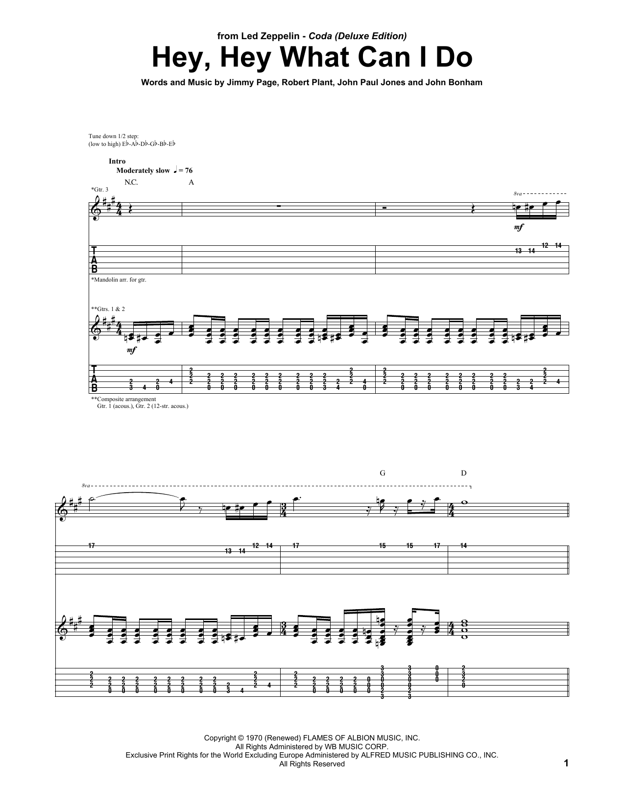 Led Zeppelin Hey, Hey What Can I Do Sheet Music Notes, Chords   Download  Printable Guitar Tab PDF Score   SKU 15