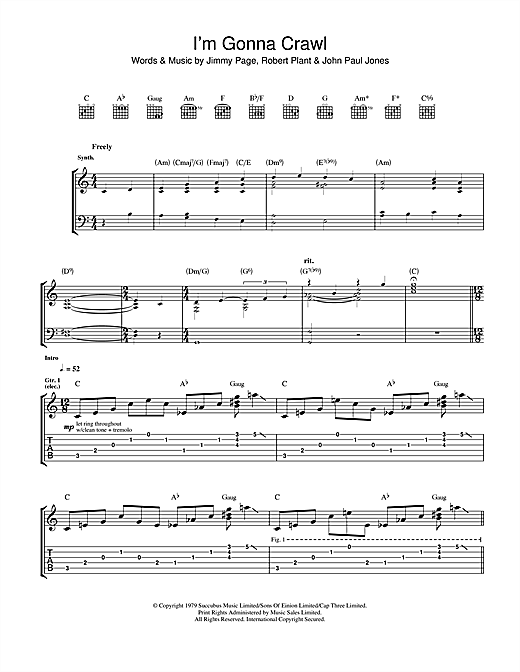 Led Zeppelin I'm Gonna Crawl sheet music notes and chords. Download Printable PDF.
