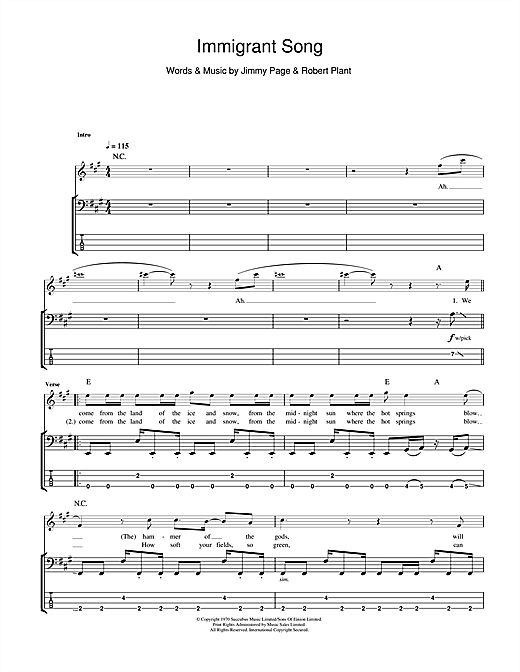 Led Zeppelin Immigrant Song sheet music notes and chords. Download Printable PDF.