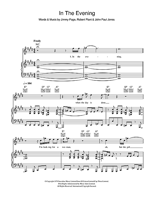 Led Zeppelin In The Evening sheet music notes and chords. Download Printable PDF.