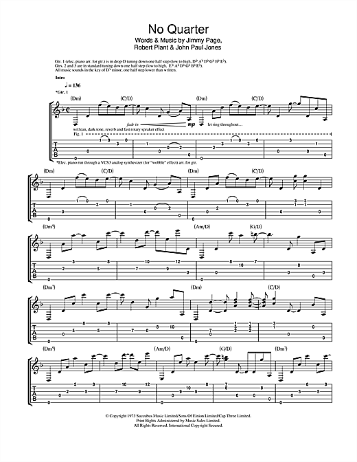 Led Zeppelin No Quarter sheet music notes and chords. Download Printable PDF.