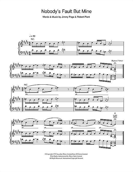 Led Zeppelin Nobody's Fault But Mine sheet music notes and chords. Download Printable PDF.