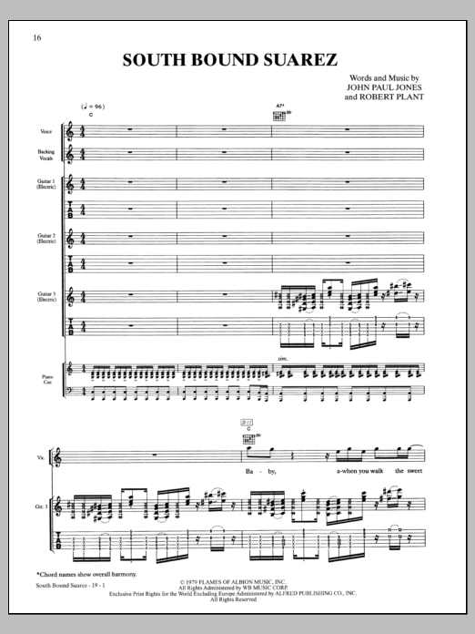 Led Zeppelin South Bound Saurez sheet music notes and chords. Download Printable PDF.