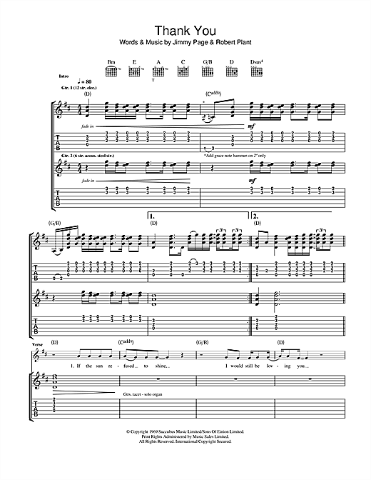 Led Zeppelin Thank You sheet music notes and chords. Download Printable PDF.