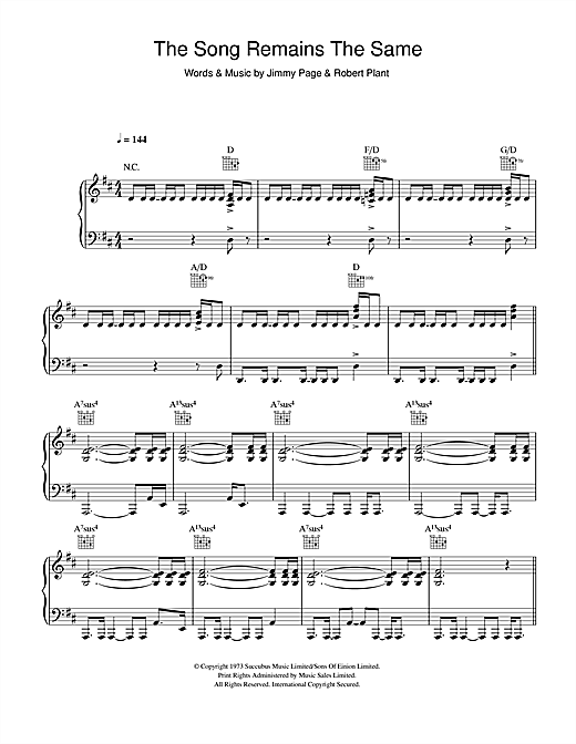 Led Zeppelin The Song Remains The Same sheet music notes and chords. Download Printable PDF.