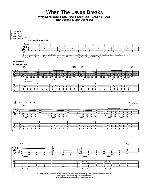 Led Zeppelin When The Levee Breaks sheet music notes and chords. Download Printable PDF.