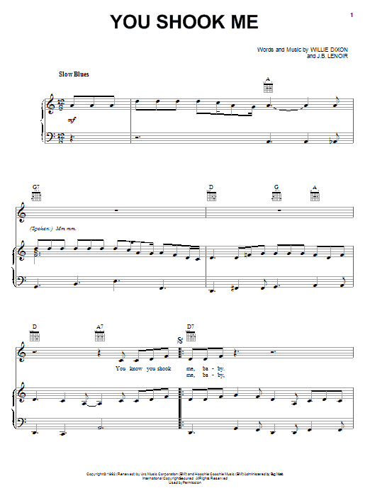 Led Zeppelin You Shook Me sheet music notes and chords. Download Printable PDF.