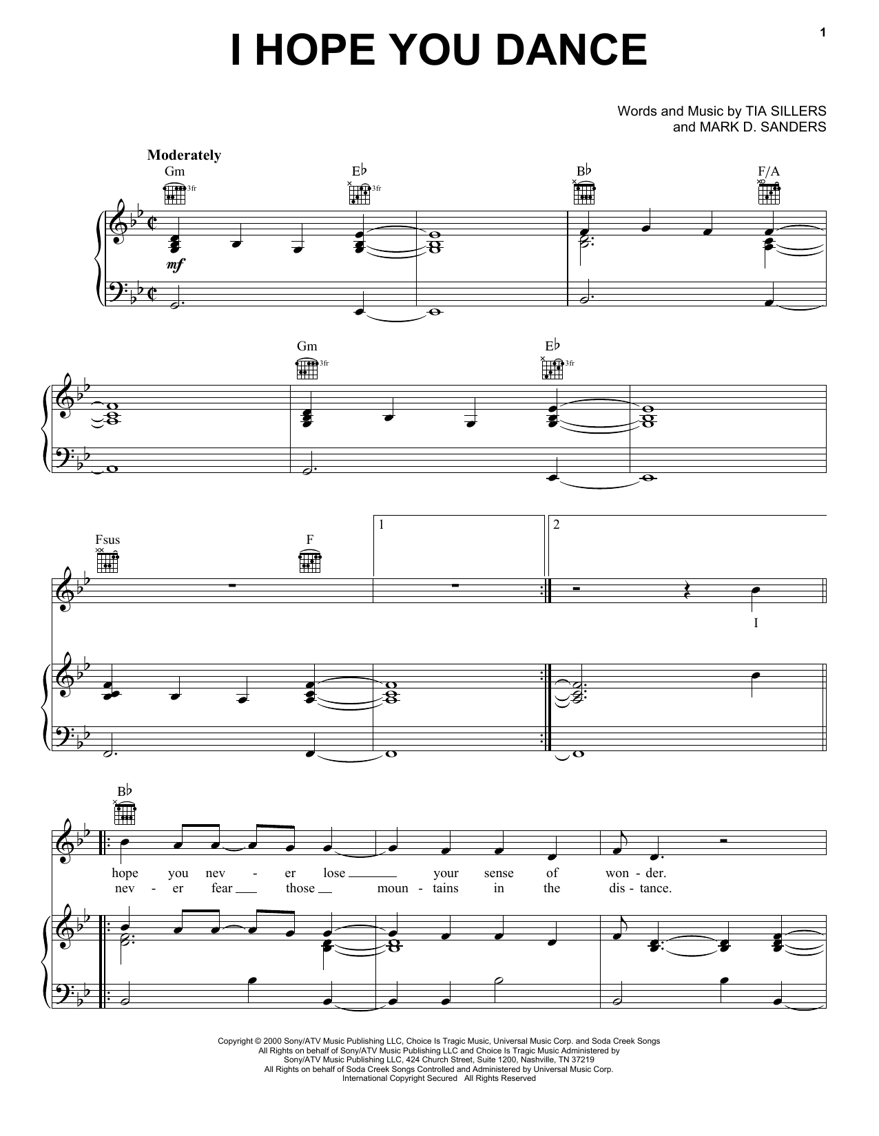 Ronan Keating I Hope You Dance Sheet Music Notes, Chords   Download  Printable Piano, Vocal & Guitar Right Hand Melody PDF Score   SKU 15