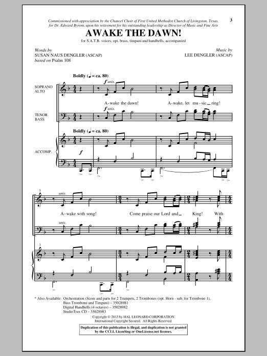 Lee Dengler Awake The Dawn! sheet music notes and chords. Download Printable PDF.