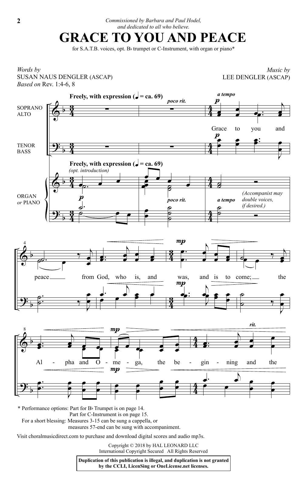 Lee Dengler Grace To You And Peace sheet music notes and chords. Download Printable PDF.