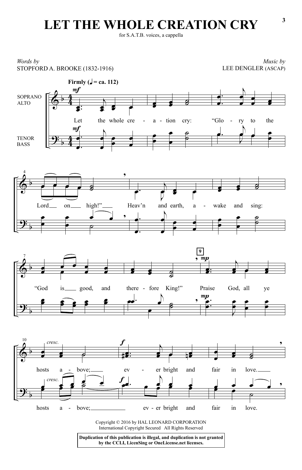 Lee Dengler Let The Whole Creation Cry sheet music notes and chords. Download Printable PDF.