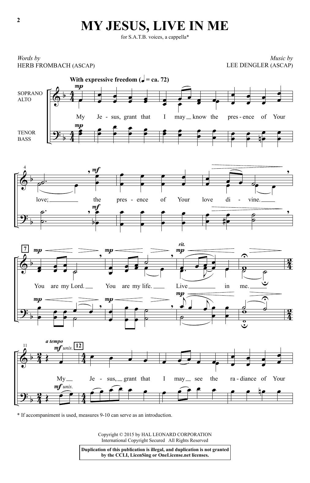 Lee Dengler My Jesus, Live In Me sheet music notes and chords. Download Printable PDF.