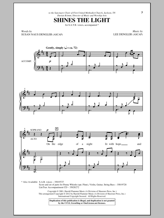 Lee Dengler Shines The Light sheet music notes and chords. Download Printable PDF.