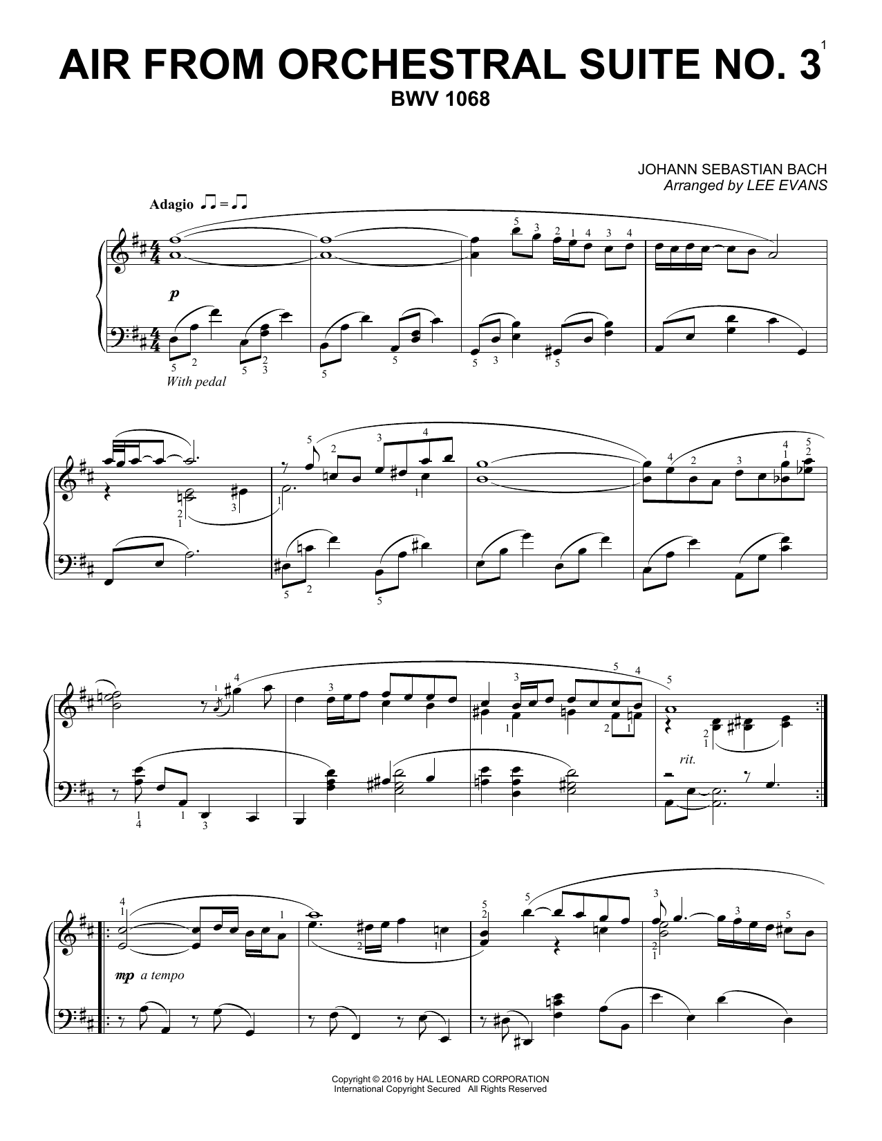 Lee Evans Air From Suite No. 3 In D sheet music notes and chords. Download Printable PDF.