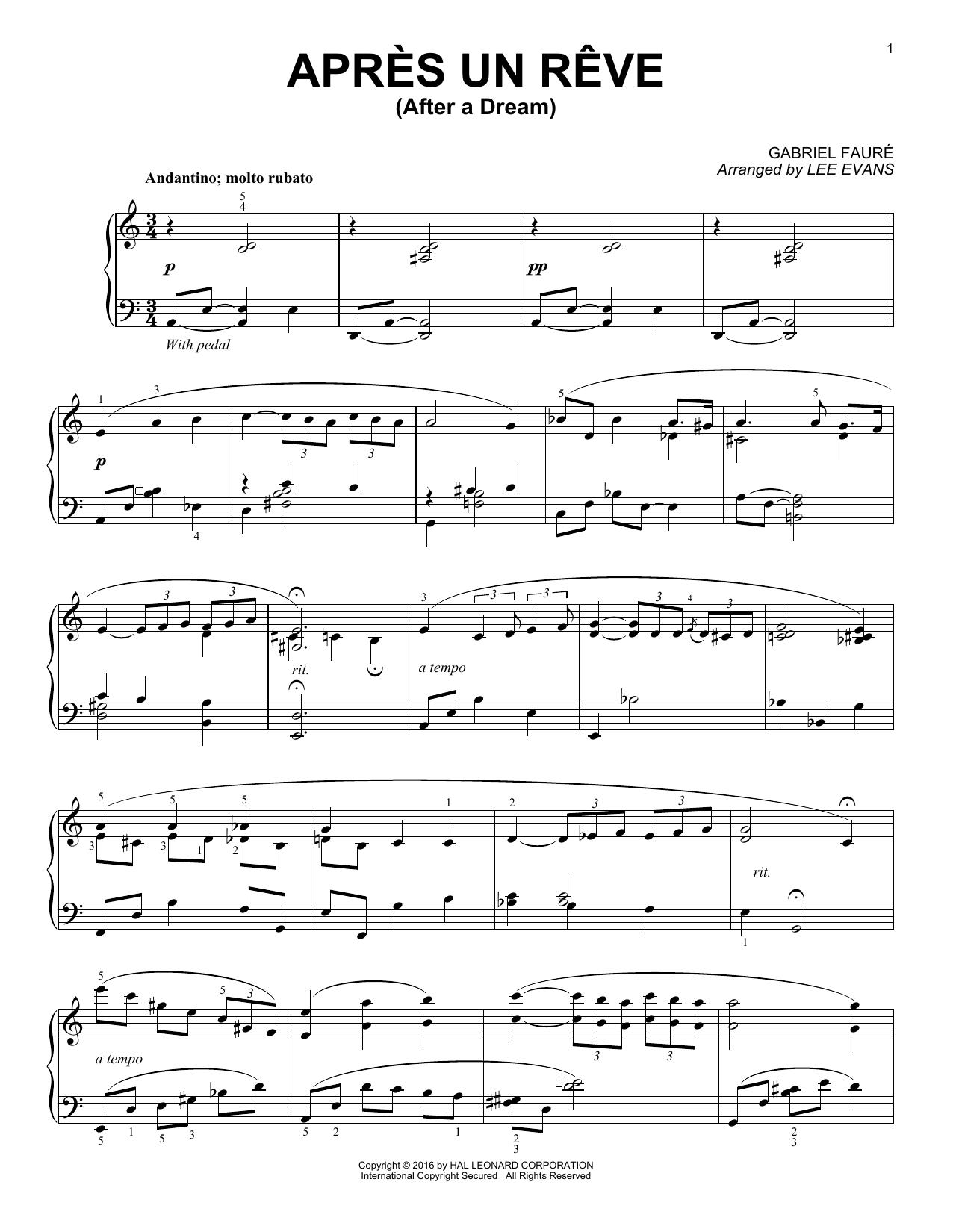 Lee Evans Apres un reve sheet music notes and chords. Download Printable PDF.