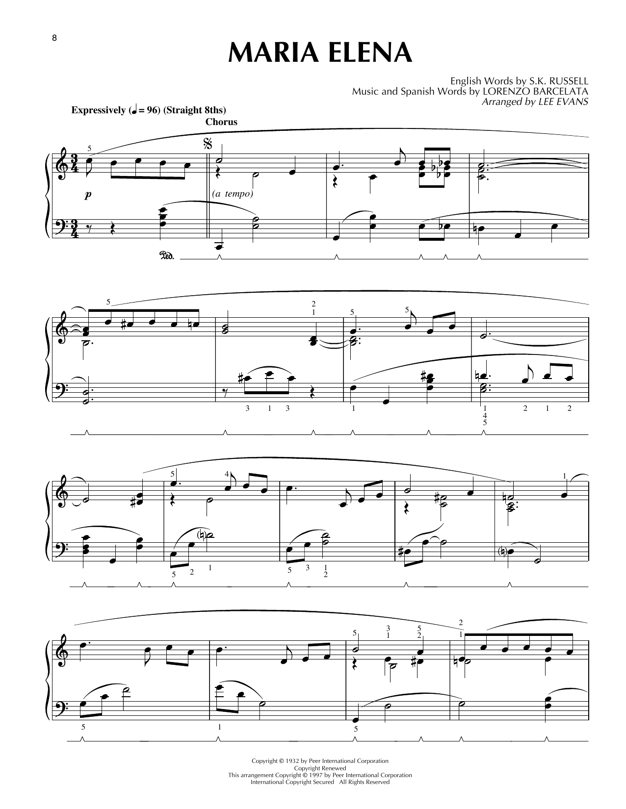 Lee Evans Maria Elena sheet music notes and chords. Download Printable PDF.