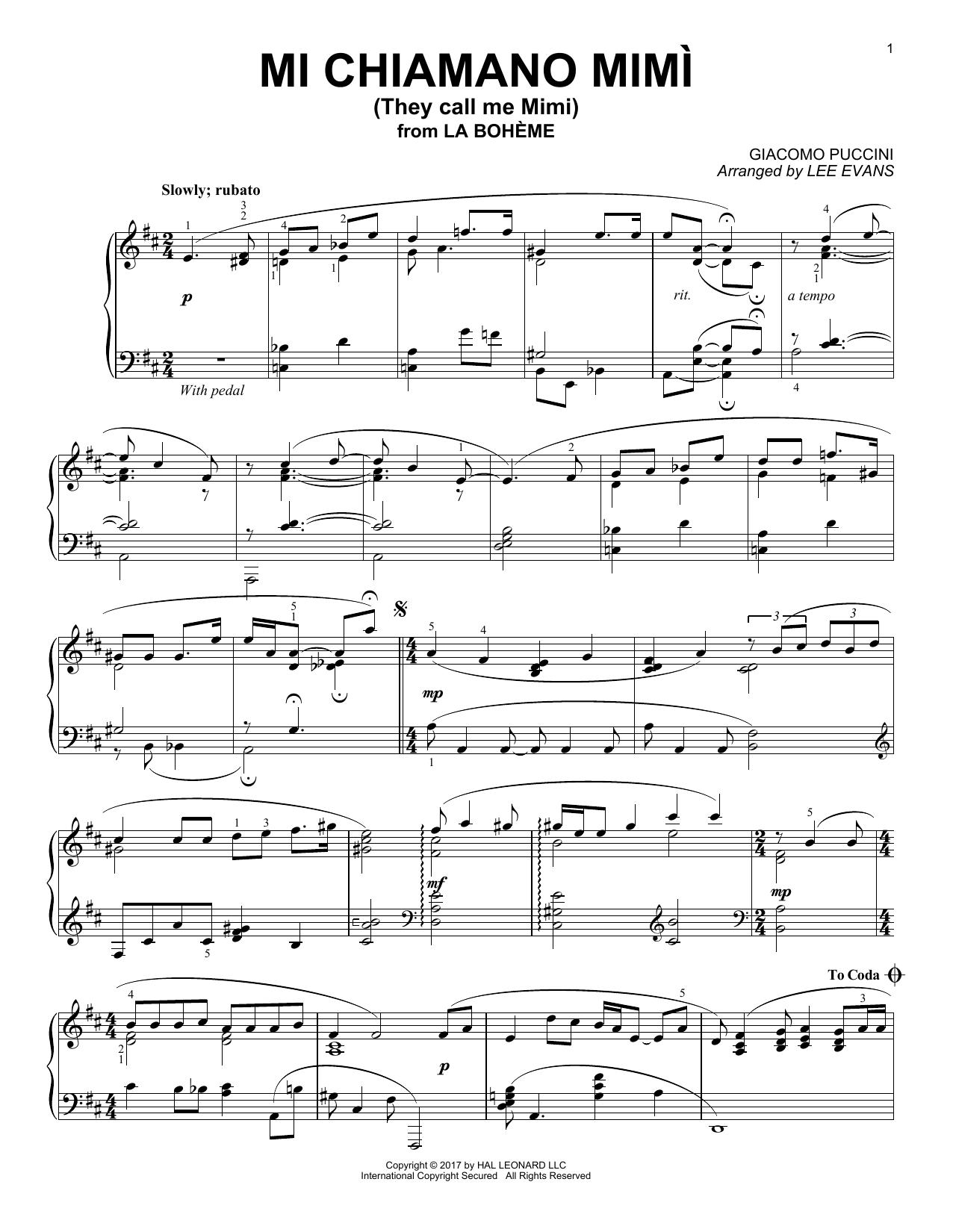 Lee Evans Me Chiamano Mimi sheet music notes and chords. Download Printable PDF.