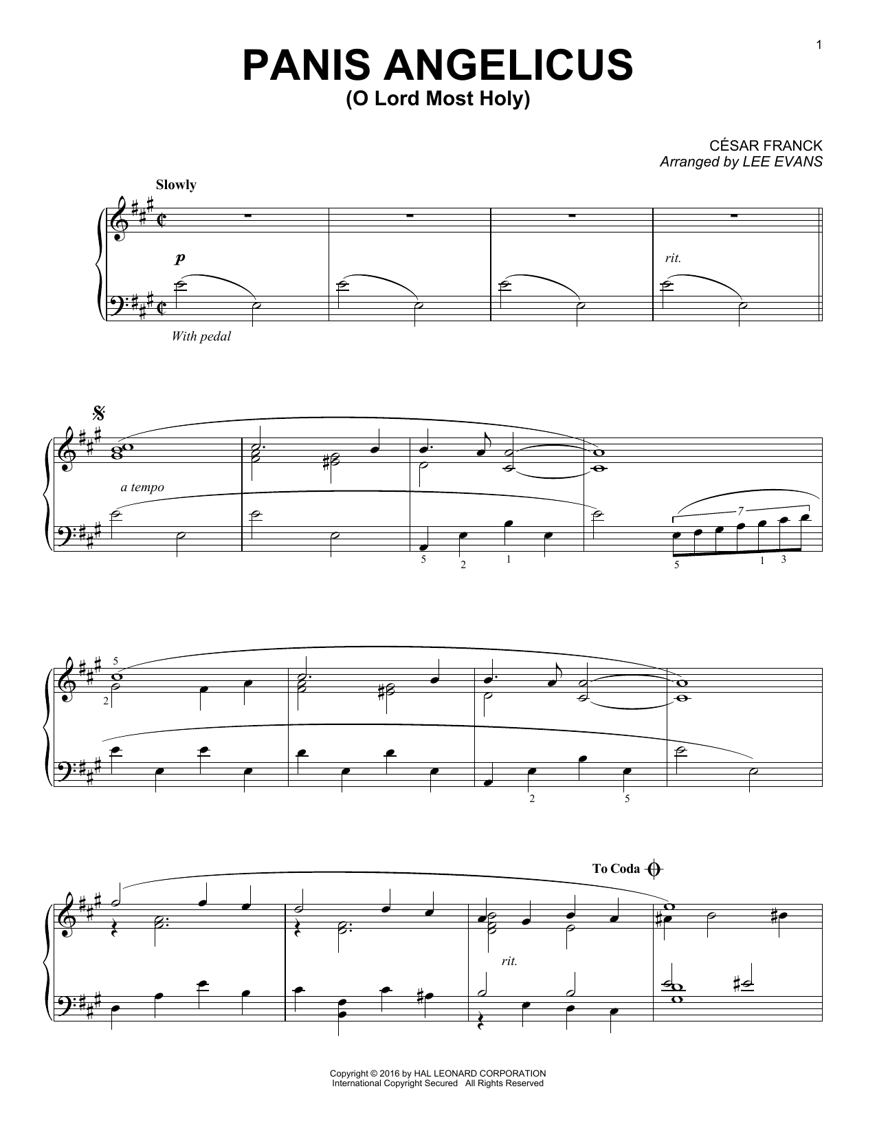 Lee Evans Panis Angelicus (O Lord Most Holy) sheet music notes and chords. Download Printable PDF.