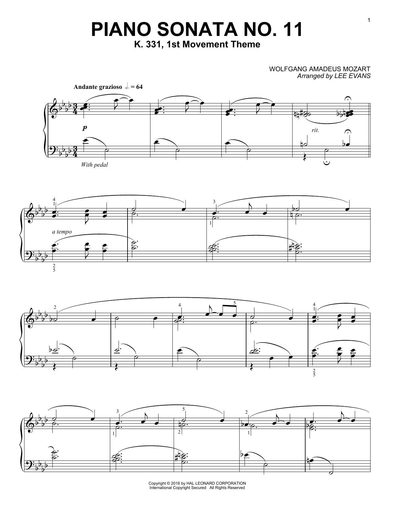 Lee Evans Piano Sonata In A Major, K.331, 1st Movement sheet music notes and chords. Download Printable PDF.