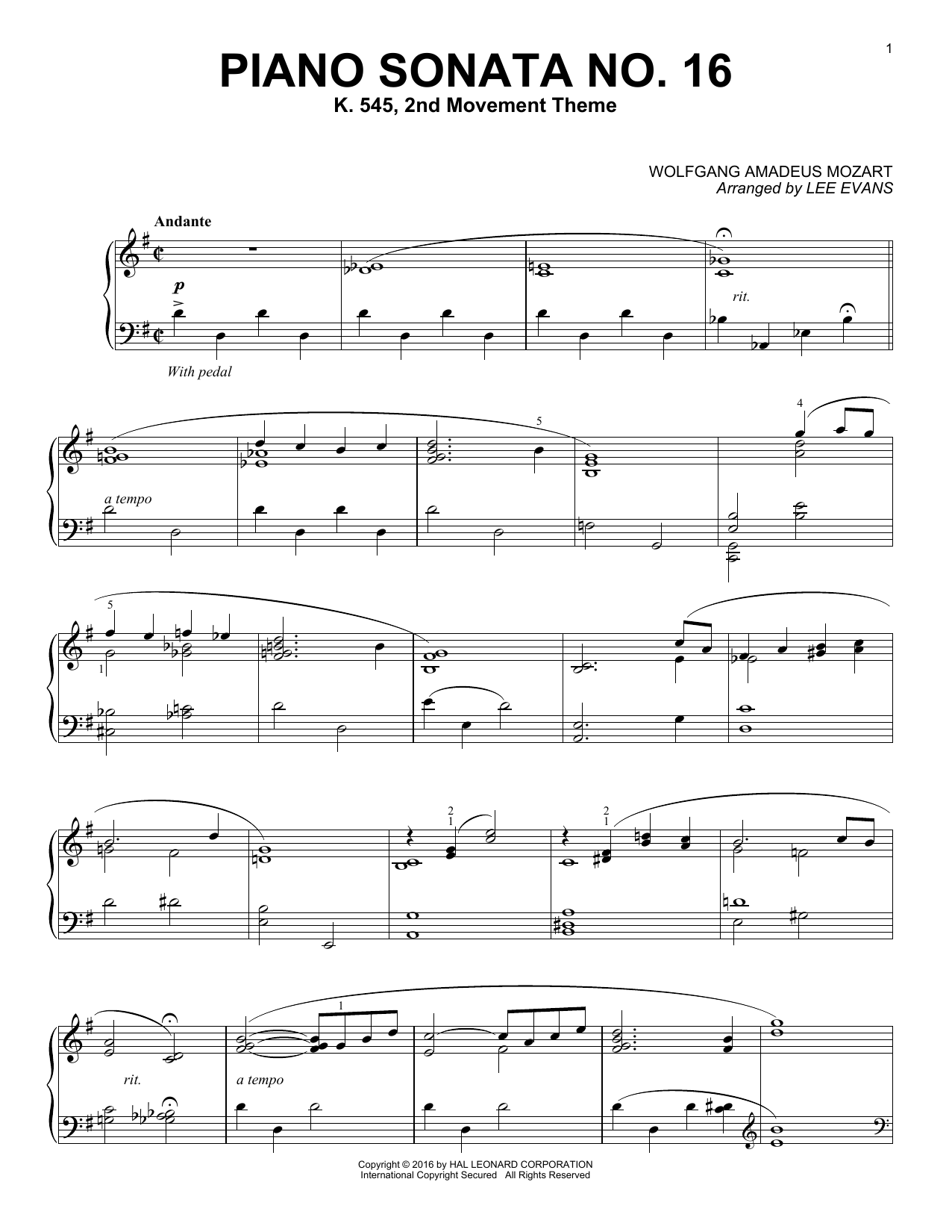 Lee Evans Piano Sonata In C Major, K.545, 2nd Movement sheet music notes and chords. Download Printable PDF.